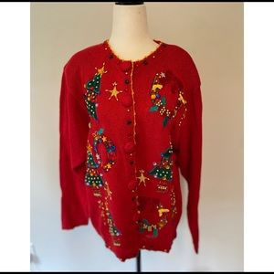 Vintage Christmas Sweater Red Victoria harbour